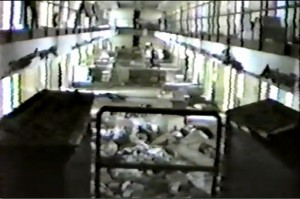 Sean's current cell block, as trashed by rioters in 1993.
